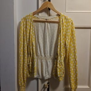 Fossil Sweaters - Fossil yellow & white polka dot cardigan sweater M